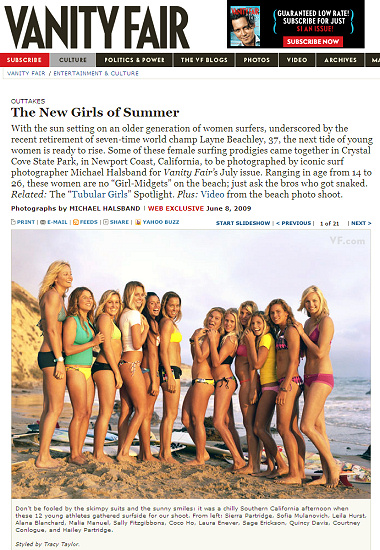 The New Surfing Girls of Summer published by Vanity Fair