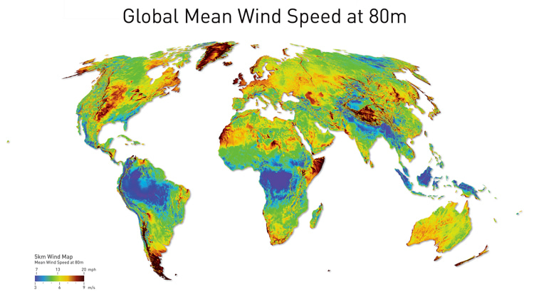Global mean wind speed: wind blows differently on planet Earth