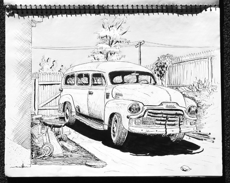 GMC Carryall: the 1954 vehicle that Craig Libuse and friends drove to get to the beach during high school | Illustration: Craig Libuse