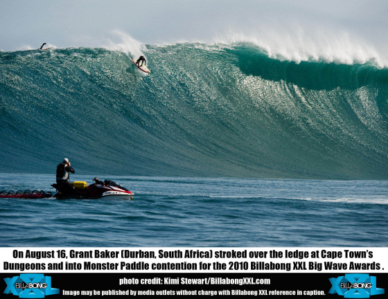 Grant Baker surfs huge wave at Dungeons