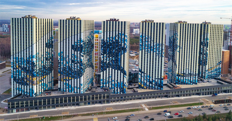 Hokusai's The Great Wave: printed on several Moscow buildings | Photo: Etalon Group