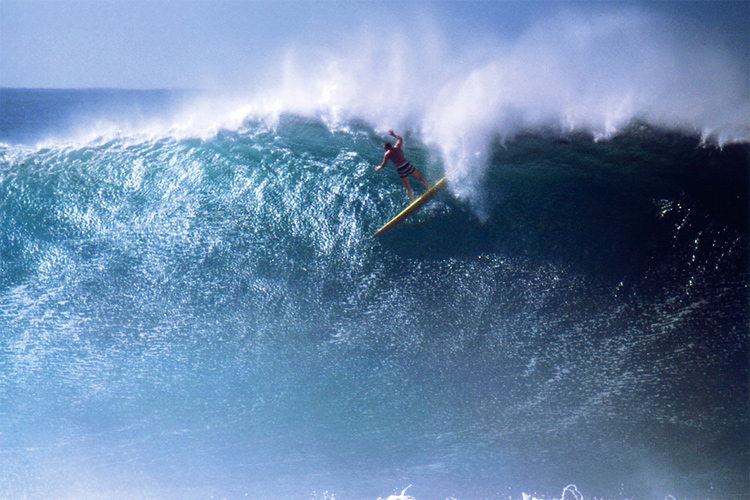 Greg Noll: one of the first to ride the Waimea Bay giants | Photo: Bruce Brown
