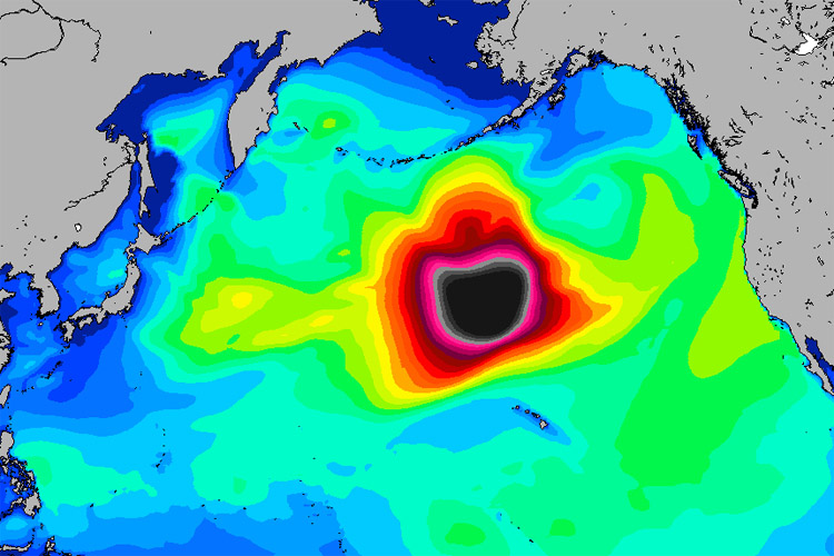 Groundswell: an example of a huge fetch forming in the North Pacific