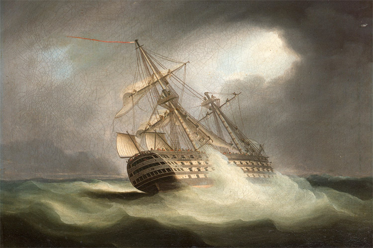 HMS Victory: sailing through a squall | Art: Thomas Buttersworth