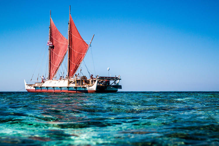 Hokulea: the double­hulled sailing canoe was launched in 1975 | Photo: Bryson Hoe