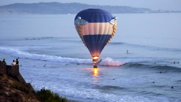 Hot air balloon: riding the waves of Cardiff-by-the-Sea