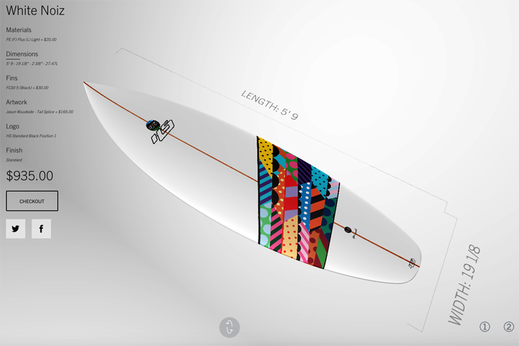 Haydenshapes: the interactive online custom surfboard designer works pretty well