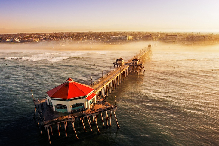 Shooting the pier at Huntington Beach Surf City USA