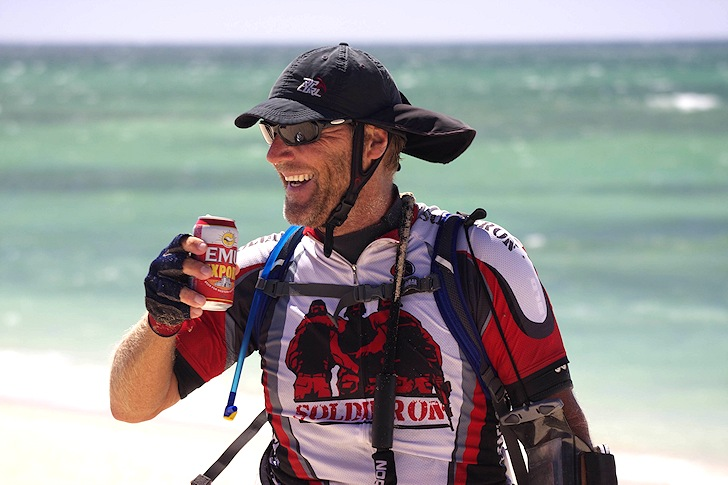 Ian Young: smiling and celebrating after a 1300-kilometer adventure in Western Australia