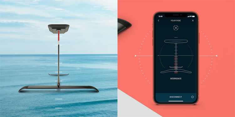iUP: the hydrofoil's parameters can be set before a ride through a simple smartphone app