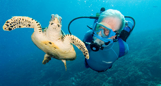 Jean-Michel Cousteau: the turtle loves his wetsuit