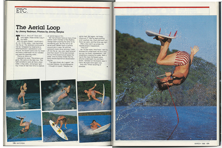 WaterSki Magazine: Jimmy Redmon's innovative aerial loop as shot by Jimmy Metyko in 1987