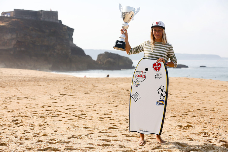Joana Schenker: she won the first ever world bodyboarding title for Portugal | Photo: Estrelinha/APB