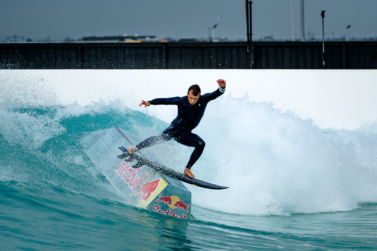 Julian Wilson: combining surfing and skateboarding in a wave pool | Photo: Green/Red Bull