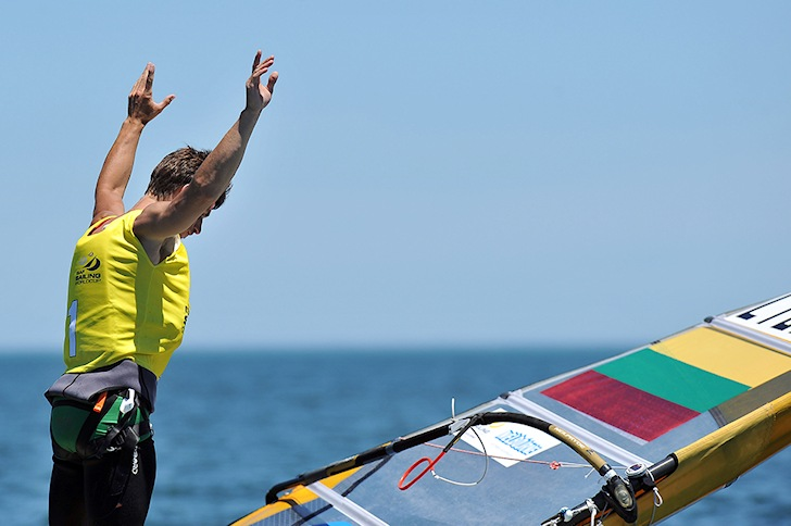 Juozas Bernotas: celebrating gold at Melbourne | Photo: ISAF