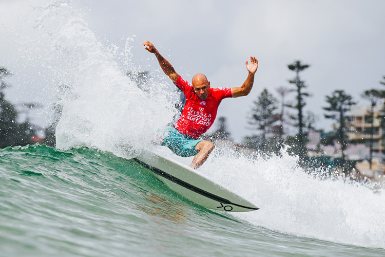 Kelly Slater is back in the water winning heats