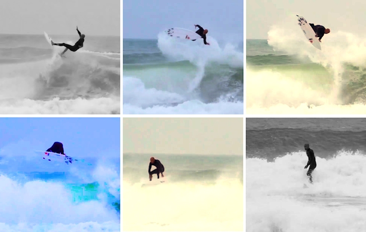 Kelly Slater completes a 540 air reverse in Peniche