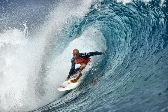 Kelly Slater: he never loses a final in Teahupoo