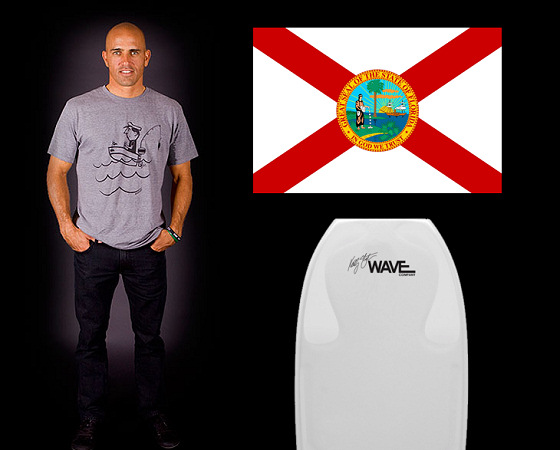 Kelly Slater: the flag of Florida and his signature bodyboard