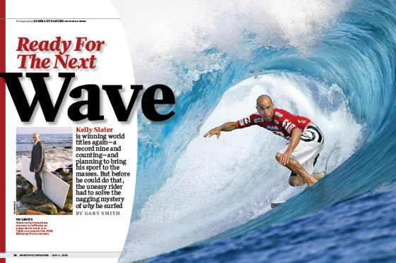 Kelly Slaters surfed with a door for Sports Illustrated