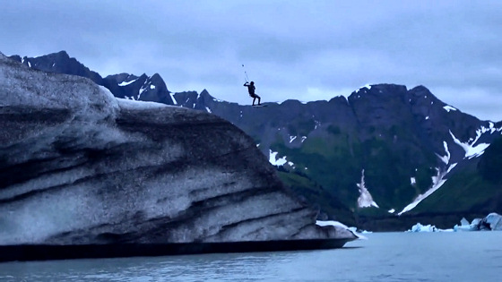 Kevin Langeree: jumping off from an icy cliff