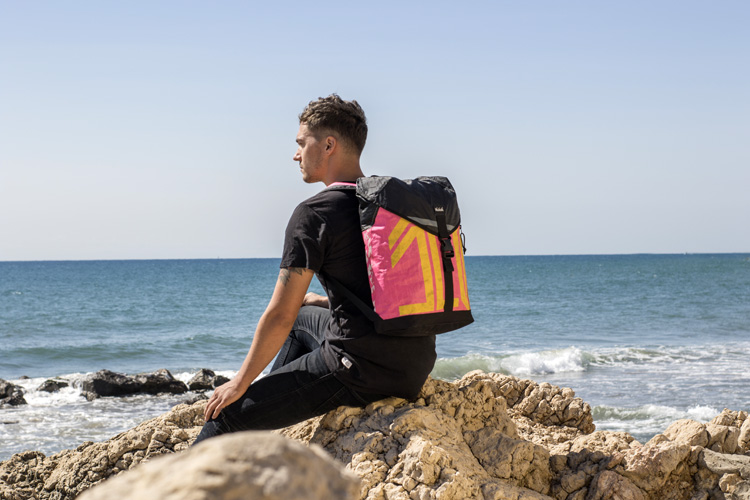 A backpack made of upcycled kitesurfing kites