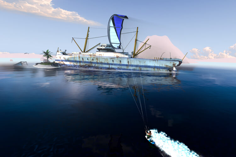 Kiteboarding Pro: the game features ramps that give you an extra boost