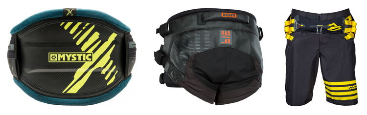Kiteboarding harnesses: the waist harness, the seat harness, and the boardshorts harness