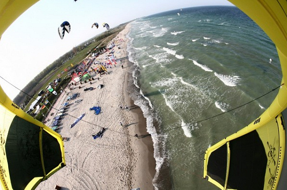Kitesurfing action in the 2009 KPWT Germany in Sylt