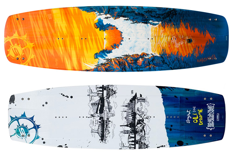 Kiteboards (top) and Wakeboards (Bottom): kiteboards are more flexible, wakeboards are wider