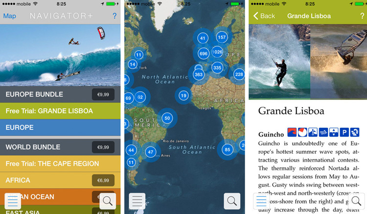 The Kite and Windsurfing Navigator+: runs on all iOS devices