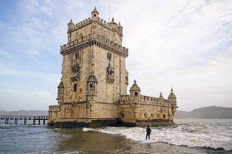 Joao Kopke: surfing small waves near Lisbon's Belém Tower | Photo: White Flag Productions