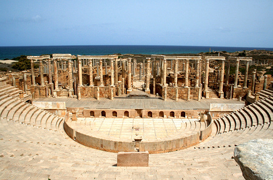 Leptis Magna, Libya: waves break behind the Roman ruins