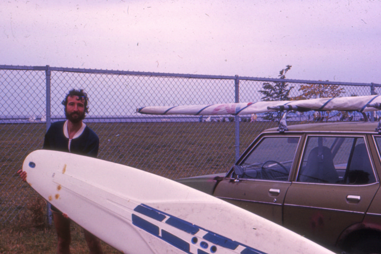 Mark Martino: stoked with his first windsurf board | Photo: Martino Archive