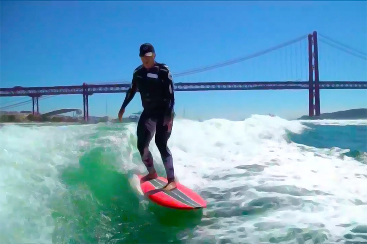 Garrett McNamara: he surfed a 2.4-mile long wave in Tagus River, Lisbon