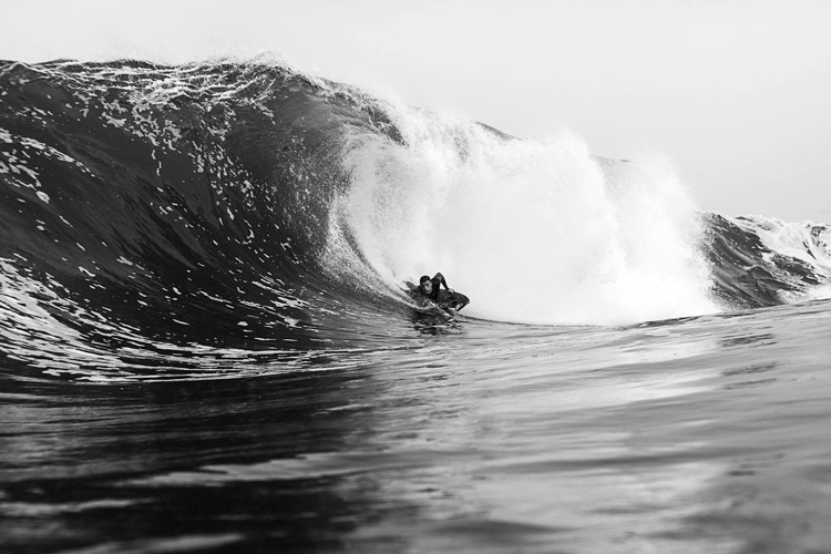 Michael Ostler: barreled in black and white | Photo: Warren Baynes