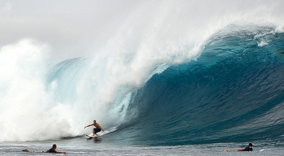 Mick Fanning: enjoying killer waves at the Volcom Fiji Pro