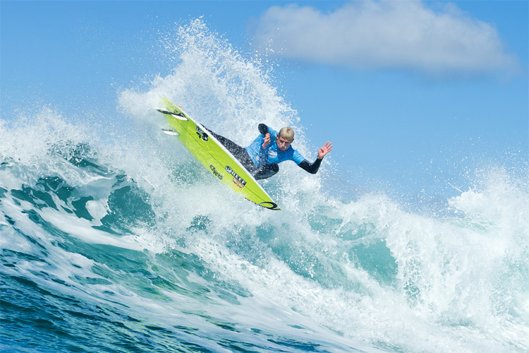 Mick Fanning: he won his first event at Bells Beach | Photo: Cestari/WSL