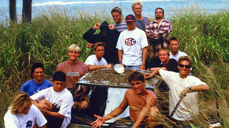 Momentum Generation: Kelly Slater, Shane Dorian, Rob Machado, Kalani Robb, Ross Williams, Benji Weatherley, Taylor Knox, Todd Chesser, Pat O'Connell, and Taylor Steele​​ were some of the members of this legendary surf crew | Photo: Momentum Generation