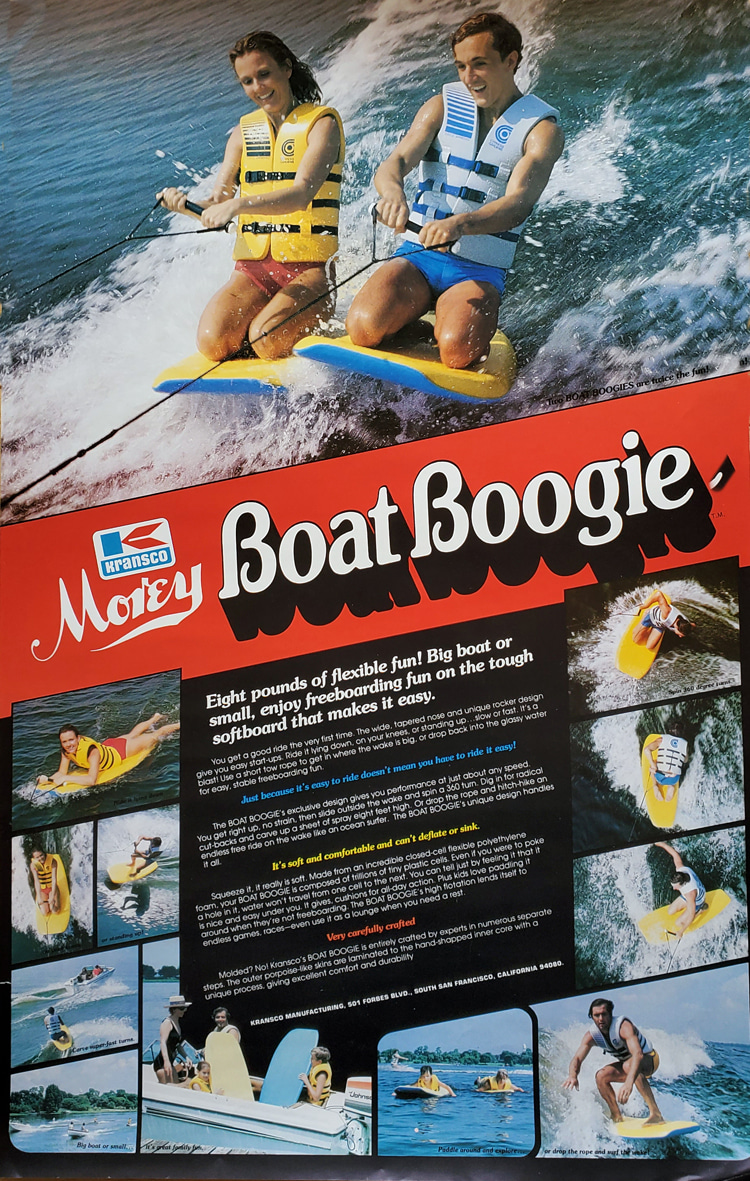 Morey Boat Boogie: Craig Libuse poses as 'dad' with kids and wife at the bottom | Ad: Libuse Archive