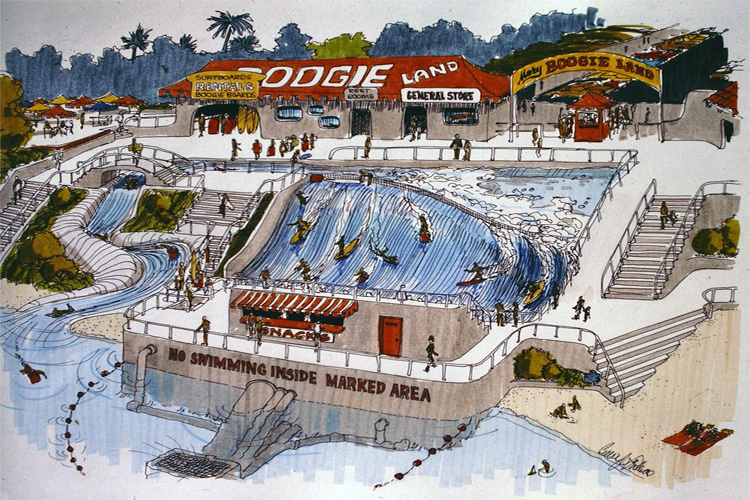 Morey Boogie Land: the wave pool concept developed by Tom Morey in the 1980s | Illustration: Craig Libuse