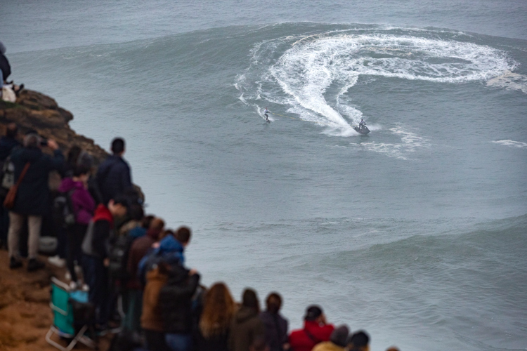 2020 Nazaré Tow Surfing Challenge: Praia do Norte delivered waves in the 40-to-50-foot range | Photo: Poullenot/WSL