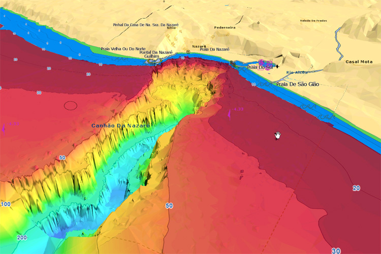 Nazaré Canyon: bathymetry explains the formation of big waves | Illustration: MaxSea