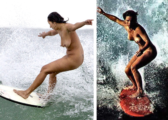 Nude surfer girls surfing naked