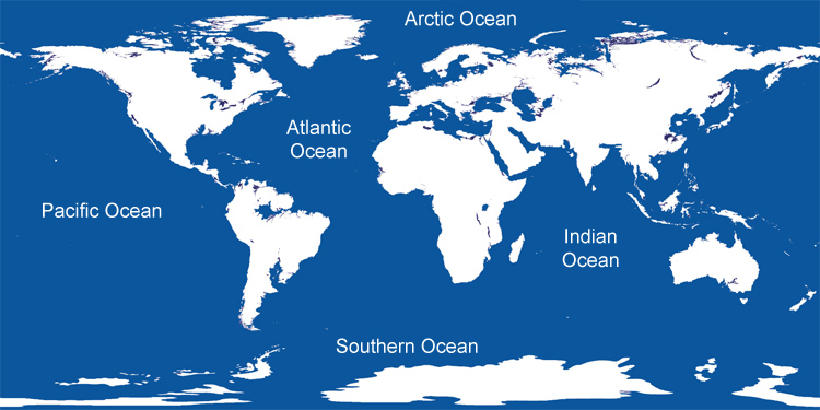 What Are The Five Oceans Of The World - Major oceans of the world map