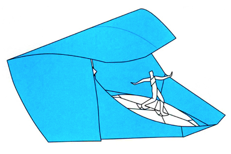 Origami: who said you can't make a surfer ride a paper wave? | Illustration: Jeremy Shafer