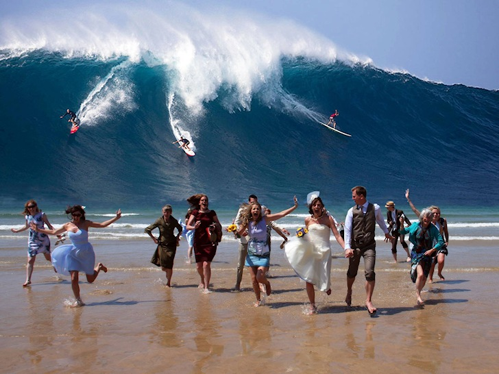 Tsunami: this wedding is being threatened by big wave surfers