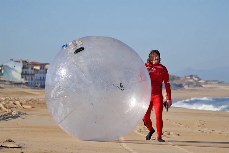 Bubble surfing: Alex and Guillaume Mangiarotti found a creative way of staying safe in the surf