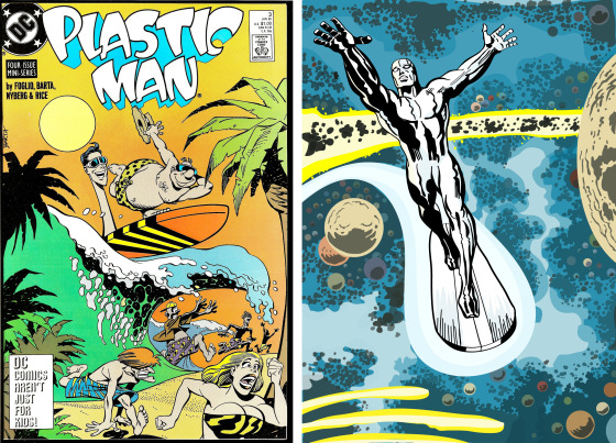 Surfing super heroes: Plastic Man and Silver Surfer compete for the best surfboard shape