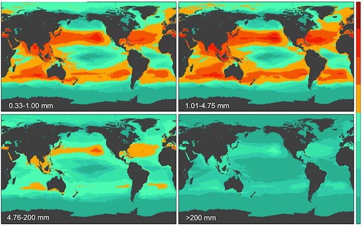 Plastic soup: check the global count density in four size classes | Illustration: 5 Gyres